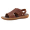 Men Genuine Leather Hand Stitching Outdoor Opened Toe Non Slip Sandals