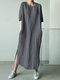 ソリッドカラーのハーフスリーブカジュアルプラスサイズのマキシドレス - 濃い灰色