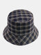 Women & Men Plaid Pattern Retro Port Style Windproof Soft All-match Travel Bucket Hat - #02
