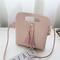 Women Mini PU Crossbody Bags Tassel Phone Bags - Pink