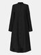 Women Ethnic Solid Color Button Long Sleeve Stand Collar Blouse - Black