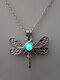 Vintage Stylish Dragonfly-shape Pendant Alloy Luminous Beads Necklaces - Blue Green