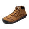 Menico Men Hand Stitching Leather Rubber Toe Non Slip Soft Sole Business Casual Boots - Brown