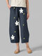 Printed Daisy Floral Elastic Waist Pocket Pants For Women - Navy