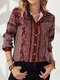 Print Button Lapel Collar Long Sleeve Casual Blouse For Women - Wine Red