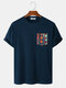 Mens Colorful Geo Print Patched Pocket Loose Short Sleeve T-Shirts - Navy