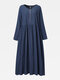Solid Color Button Pleated Casual Maxi Dress - Navy