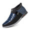 Men Classic Business Casual Slip On Leather Business Casual Ankle Boots - Blue