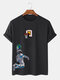 メンズ宇宙飛行士&地球グラフィック半袖綿100%Tシャツ - 黒