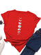 Moon Print Short Sleeve O-neck Loose Casual T-Shirt For Women - Red
