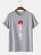 Mens Japanese Characters Print Crew Neck Street Short Sleeve T-Shirt - Gray