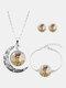 3 Pcs Printed Men Women Jewelry Set Wearing Garland Hollow Half Moon Necklace Bracelet Earring - #02