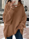Women Solid Color High Neck Lantern Sleeves Casual Sweater - Brown