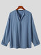 Plus Size Mens Solid Color V-Neck Long Sleeve Casual Henley Shirts - Blue