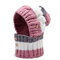 Women Winter Warm  Masks Knitted Hat Collar Scarf Set Outdoor Cycling Windproof Plus Hood Hat - Pink