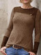 Casual Plaid Patchwork O-neck Long Sleeve T-shirt - Coffee