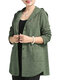 Solid Color Hooded Cotton Button Cardigan - Green