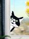 Cute Animal Pattern Hanging Decor Cat/Dog Print Sun Catcher Window Hanging Ornament Pendant For Window Wall Door - Black