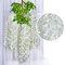 12 قطعة / المجموعة 100 سنتيمتر الزهور الاصطناعية الحرير الوستارية وهمية حديقة معلقة زهرة النبات كرمة ديكور الزفاف - أبيض