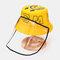 Children's Sun Hat Windproof Dust Cap Big-edge Outdoor Anti-UV Detachable Face Screen  - Yellow