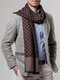 Men Cashmere Casual Universal Business Colorful Classic Plaid Pattern Keep Warm Scarf - Wine Red
