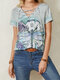 Calico Dragonfly Print Short Sleeve V-neck Knotted Casual T-Shirt - Green