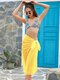 Women Solid Color Knotted Side Chiffon Beach Cover Up Skirt Swimsuit - Yellow