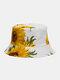 ユニセックス両面コットンひまわりパターンファッション若い日よけバケットハット - 白い