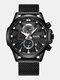 Small Three Pointer Men Business Watch Chronograph Calendar Waterproof Quartz Watch - Black