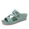 LOSTISY Handmade Stitching Green Casual Wedges Sandals - Green