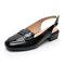 Chunky Heel Buckle Strap Casual Backless Slingblack Sandals - Black