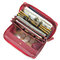 Brenice RFID Cowhide Zipper Long Wallets Large Capacity 11 Card Holder Coin Purse - Red