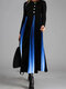 Ombre Long Sleeve O-neck Patchwork Dress For Women - Blue
