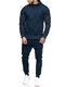 Mens Solid Color Hooded Sweatshirts Elastic Waist Pants Two Pieces Outfits - Navy