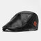 Men Vintage Artificial Leather Hat Keep Warm Ear Protected Casual Beret Hat Flat Caps - Black