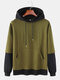 Mens Cotton Patchwork Faux Twinset Hoodies With Kangaroo Pocket - Army Green