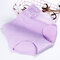 Plus Size High Waisted Cotton Embossing Panties - Purple