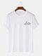 Mens Small Dinosaur Print Plain 100% Cotton Short Sleeve T-Shirts - White