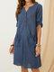 Solid Color V-neck Button Half Sleeve Pockets Casual Dress - Blue