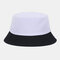 Unisex Fashion Casual Jelly Color Solid Poetable Sunscreen Outdoor Sun Hat Bucket Hat - Black White