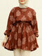 Ethnic Print Knotted Puff Sleeves Casual Blouse For Women - Brown