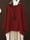 Solid Color Crew Neck Long Sleeve Plus Size Blouse - Red