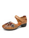 SOCOFY Colorful Flowers Decor Hollow Out Cowhide Leather Breathabel Non Slip Hook Loop Casual Shoes Flats - Yellow