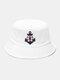महिला और पुरुष लंगर सर्वाइवल सर्कल पैटर्न आउटडोर सनशेड बाल्टी टोपी - सफेद