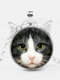 Vintage Printed Black White Cat Face Women Necklace Cat Ear Glass Pendant Sweater Chain - Silver