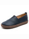 Women's Leather Casual Slip On Flat Loafers Shoes - Blue