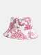 Unisex Cotton Line Drawing Cashew Flower Print Vintage Fashion Sun Protection Bucket Hat - Red