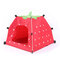 Pet Tent Cat And Dog Toy House Collapsible Cat Litter Cat Dog Strawberry Tent - Red