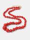 Ethnic Semi-precious Stone Beaded Adjustable Thick Round Bead Necklace - #03