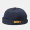 Men & Women Brimless Hats Solid Color Labeling Letter Skull Caps - Navy